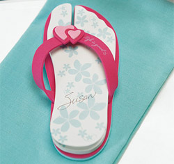 Flip Flop Personalized Wedding Favor Note Pads in Pink