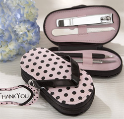 Pink and Black Polka Dot Flip Flop Five Piece Pedicure Set Cute Wedding Party Gifts/ Favors
