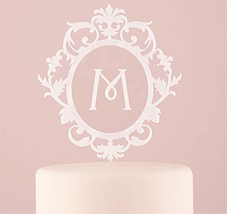 floating white initial cake topper