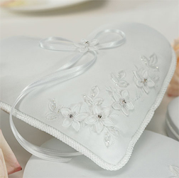 Floral Fantasy Heart Shaped White Wedding Ring Bearer Pillow