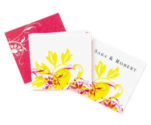 Floral Funk Personalized Wedding Gift/ Favor Tags Fushia Pink and Yellow