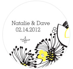 Floral Fusion Personalized Wedding Favor Sticker in Yellow