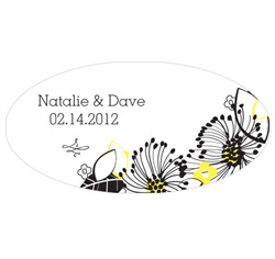 Floral Fusion Personalized Wedding Window Cling in Yellow