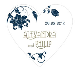 Floral Orchestra Personalized Heart Wedding Sticker in Navy Blue