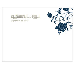 Floral Orchestra Personalized Wedding Note Card in Navy Blue