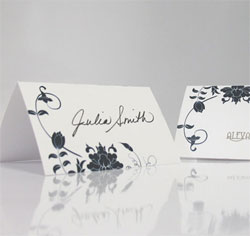 Floral Orchestra Personalized Wedding Place Cards in Navy Blue