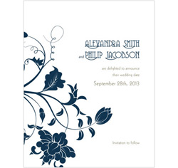 Floral Orchestra Personalized Wedding Invitations Save The Date Cards in Dark/Navy Blue