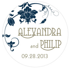 Floral Orchestra Personalized Wedding Favor Sticker