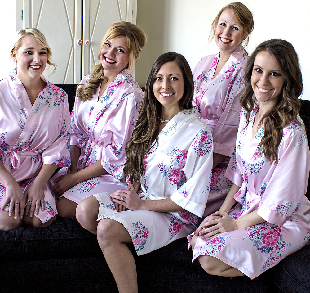 Bridal Party Floral Satin Robe - Personalized 0f9b6f03c