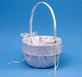 Florenzia Wedding Flower Girl Basket - Ivory on White