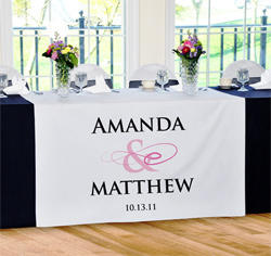 Personalized Flourish Wedding Table Runner