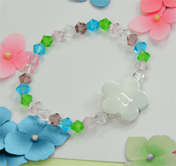 Personalized Initial Flower Girl Wedding Party Gift Bracelet