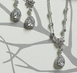 Flower & Pear Drop in Silver Earrings  and Necklace
