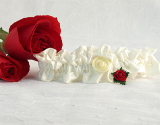 Flower of Love Wedding Bridal Garter in Ivory