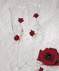 Flower of Love Red Roses Wedding Toasting Flutes Glasses Set for Bride and Groom