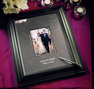 black framed inscribable wedding guest signature frame