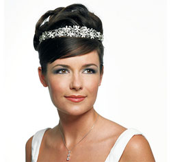 Silver French Petals Tiara for Wedding or Prom Updo