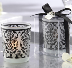 Black & White Frosted Glass Tea Light Holder Wedding Favors