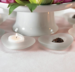 Frosted Glass Heart Shapped Wedding Decor Tealight Candle Holders/ Favors