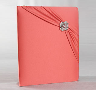 Red Garbo Wedding Memory Book with Crystal/ Rhinestone Brooch