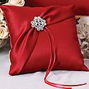 Garbo Red Wedding Ring Bearer Pillow with Rhinestone/Crystal Brooch