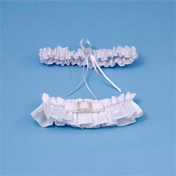 Glamour White or Ivory Wedding Bridal Garter and Tossing Garter