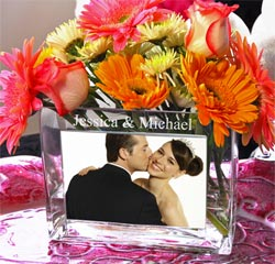 Personalized Wedding Glass Photo Vase