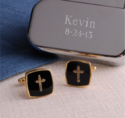 Gold Cross Cufflinks Case