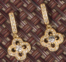 Gold Crystal/Rhinestones Clover Drop Dangle Earrings
