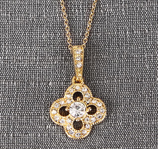 Gold Crystal/Rhinestones Clover Drop Pendent Necklace