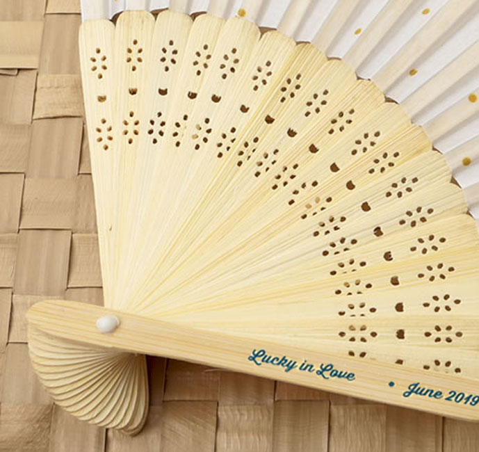Personalized Gold Dot Silk Wedding Favor Fans Personalized Wedding