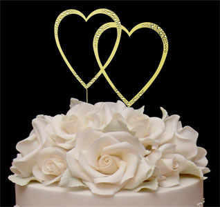 Swarovski Gold Double Heart Cake Topper
