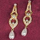 Gold Tiered Dangle Earrings with Drop Pearls and Clear Crystals/ Rhinestones