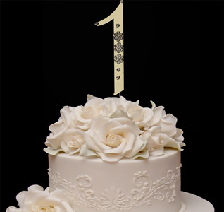 Gold French Flower Number Cake Top