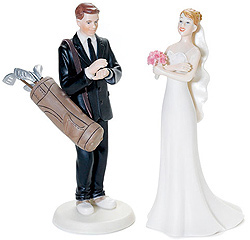 Bride and Groom Custom Golf Fanatic Wedding Cake Top Figurines