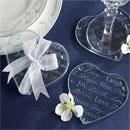 Good Wishes Heart Glass Coasters Wedding Favors