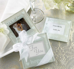 Good Wishes Pearlized Photo Coasters/ Wedding Favors/ Table Number Holders/ Place Card Holders