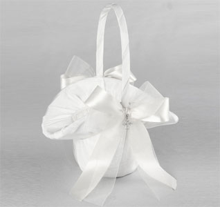 Grace White or Ivory Wedding Flower Girl Basket with Cross Pendent