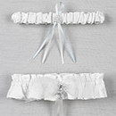 White or Ivory Grace Wedding Bridal Garter and Tossing Garter with Cross Pendent
