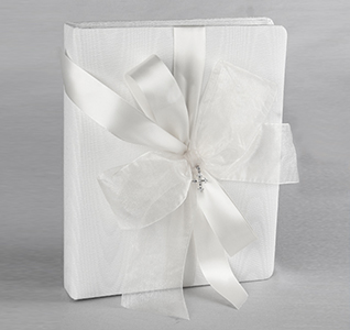 Grace White or Ivory Wedding Memory Book with Cross Pendent