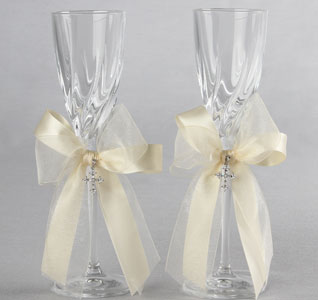 White or Ivory Grace Wedding Toasting Flute Set for Bride and Groom with Cross Pendent