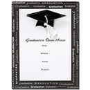 Graduation Cap Party Invitations in Black and White