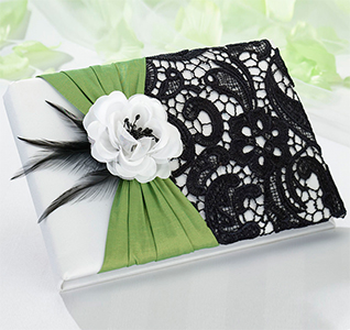 Lace Wedding Guest Book with Rose