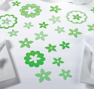 Green Flower Wedding Table Decor Confetti