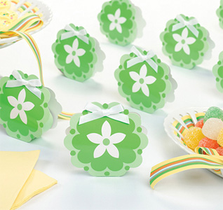 Green Flower Favor Boxes