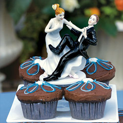 Bride and Groom Taking Plunge Wedding Caketop Figurines