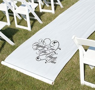 Hily Ever After Wedding Aisle Runner White