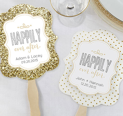 Happily Ever After Gold Glitter Wedding Fans (Set Of 12)