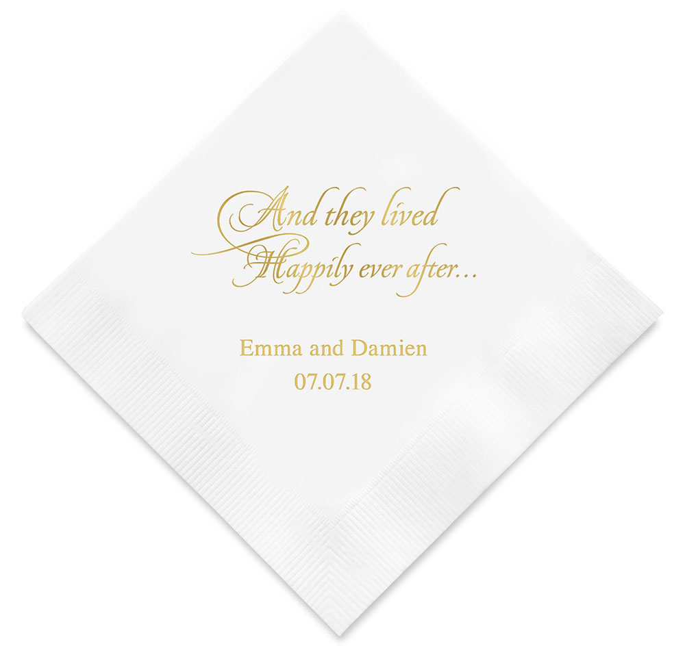 Wedding Personalized Napkins personalized wedding napkins printed happily ever after napkins