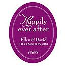 Happily Ever After Purple and White Frame  Personalized Wedding Favor Sticker